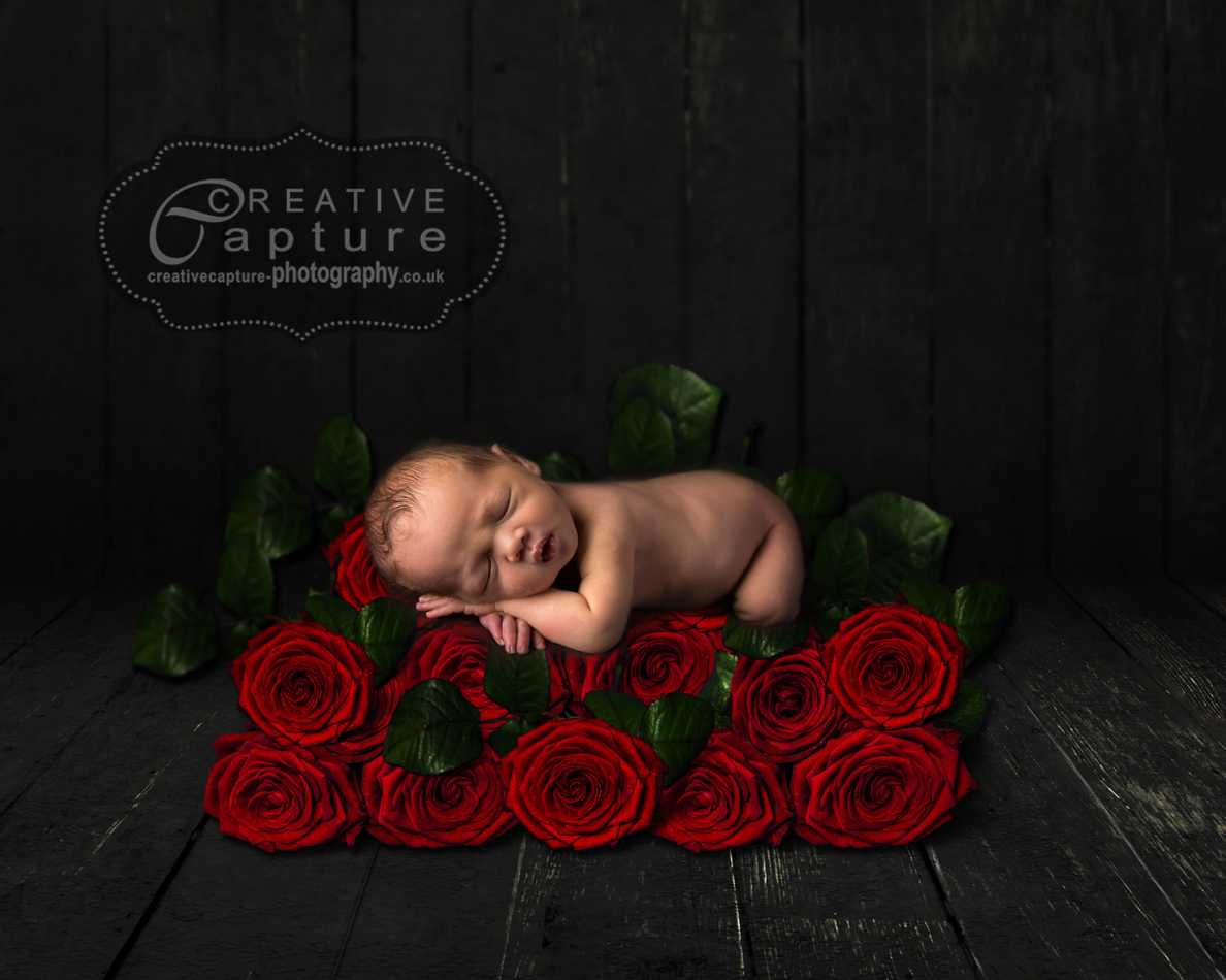 Black-rustic-wood-floor-bunch-roses-done